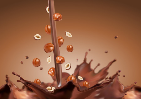 Nuts fall in chocolate  Chocolate shed  Nuts in chocolate  Chocolate with horihamy