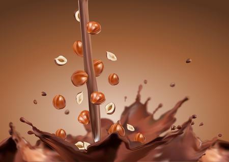 avellanas: Los frutos secos en el chocolate chocolate derramada Nueces en chocolate chocolate con horihamy Vectores