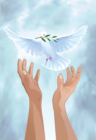 Dove of Peace  White dove in the sky  Dove flies from the hand to the sky  Freedom  Vector