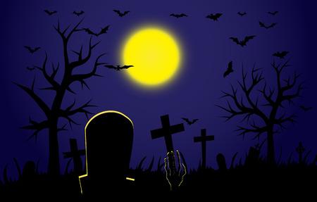 breaks: Cementerio durante los descansos de zombies de Halloween a mano