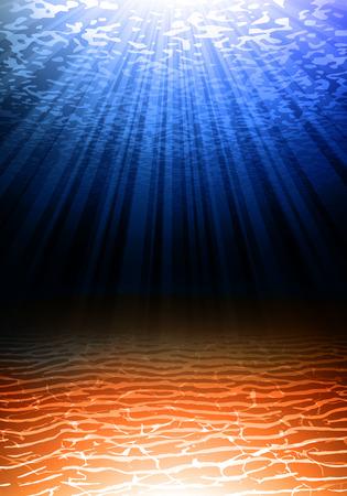 ocean floor: Sandy bottom of the ocean. Glimpses of sunlight to the ocean floor. Sea depth. Secrets of the water.