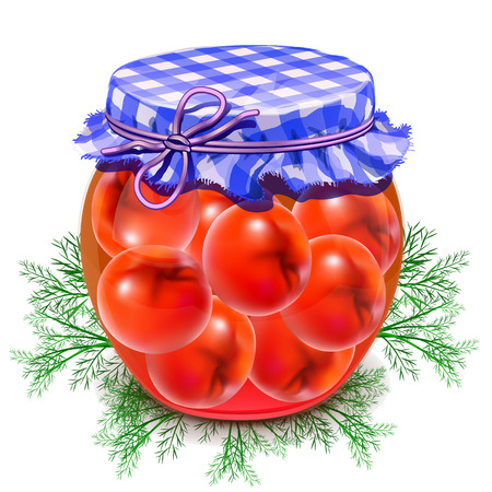 Canned tomatoes. Tomatoes in a glass jar. Twist red tomatoes. Ilustração