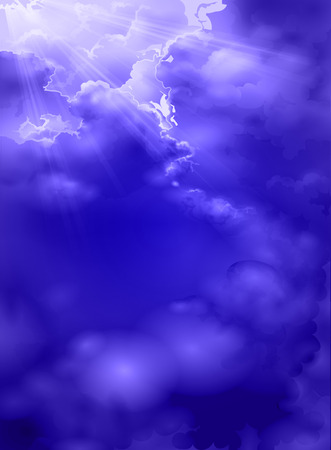 moody sky: Cielo blu con le nubi temporalesche. Sole rozvydnyuyetsya attraverso le nubi di tempesta. Bella blu cielo tempestoso con sole. Vettoriali