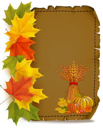 Autumn viburnum. Yellow red autumn leaves. Viburnum with leaves on autumn background. Vector