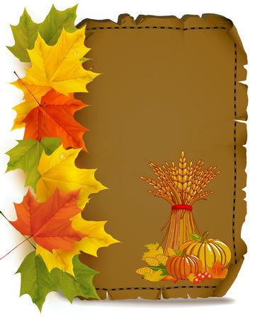 Autumn viburnum. Yellow red autumn leaves. Viburnum with leaves on autumn background. Vector