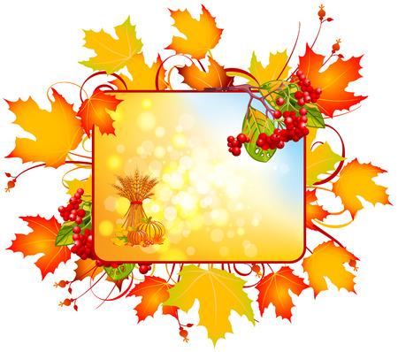 Autumn rectangular sign. Abstract autumn sign. Kalynna red with yellow leaves os%u044Bnn%u044Bmy. Ilustração