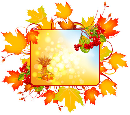 Autumn rectangular sign. Abstract autumn sign. Kalynna red with yellow leaves os%u044Bnn%u044Bmy. Vector