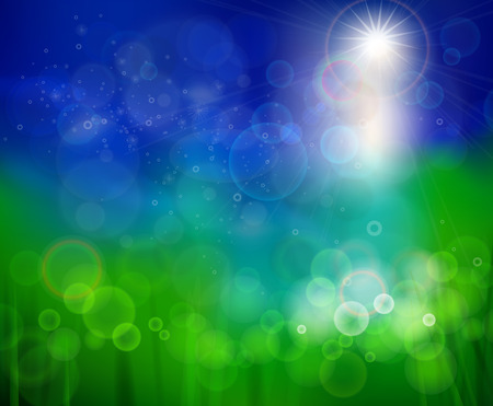 Bluish green background. Abstract background of summer. Abstract bubbles and reflections on a background summer. Sunny warm gentle summer background. Vector