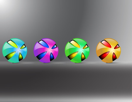 Colored balls. Red orange yellow green purple balls. Creative balls decaying. Vector