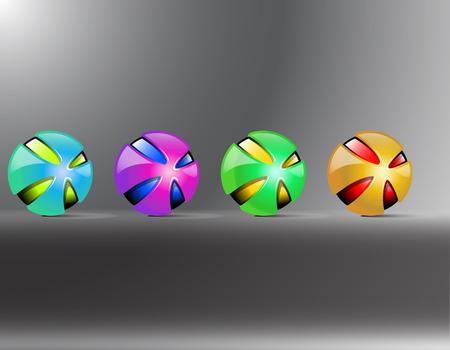 Colored balls. Red orange yellow green purple balls. Creative balls decaying. Vector