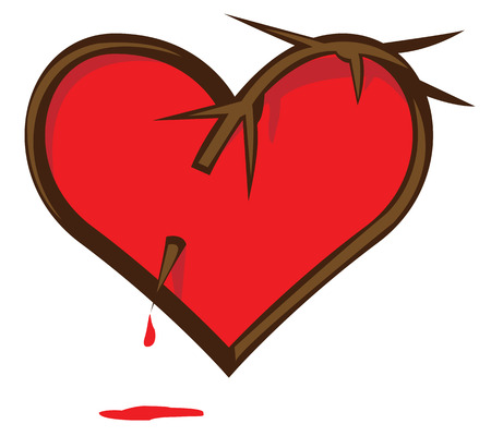 Broken Heart. Heart pierced vine. Bloody heart. Vector