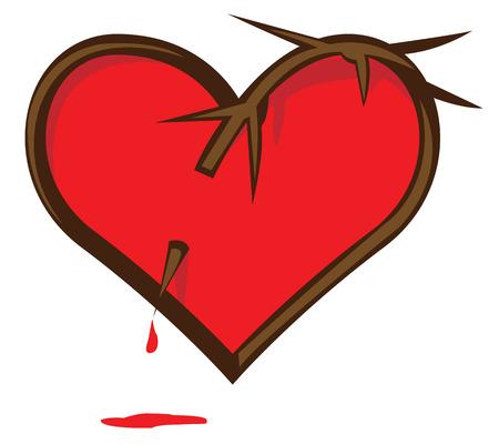 pierced: Broken Heart. Heart pierced vine. Bloody heart.