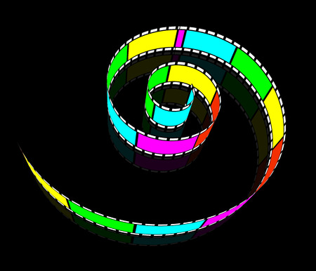 removing: Spiral film. Camera Roll with mirror image. Video tape is wound in a spiral. Illustration