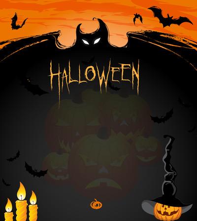 Classifieds Halloween. Invitation to the Halloween holiday. Religious holiday Halloween. Pumpkin glowing. Kazhamy day Halloween. Halloween Pumpkin in Hat magician. Vettoriali