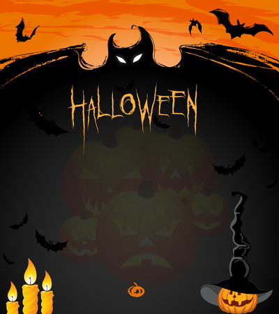 Classifieds Halloween. Invitation to the Halloween holiday. Religious holiday Halloween. Pumpkin glowing. Kazhamy day Halloween. Halloween Pumpkin in Hat magician. Ilustração