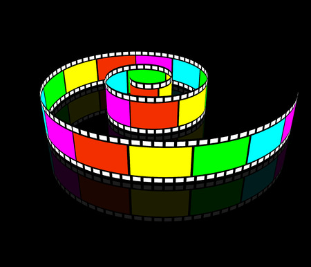 Spiral videotape. Camera Roll spirally twisted. Cinematographic film. Vector