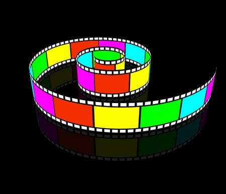 cinematografico: Video Spiral. Carrete retorcido en espiral. Pel�culas cinematogr�ficas. Vectores