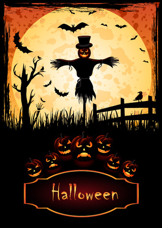 Holiday Halloween. Poster for Halloween. Gorodne scarecrow. Pumpkin and candle in the middle. Helovinskyy pumpkin glowing. Vector