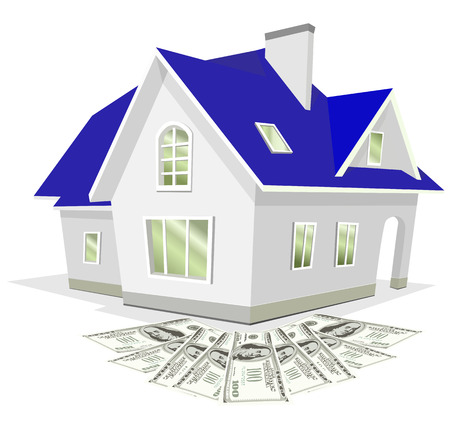 a house with Money Illustration