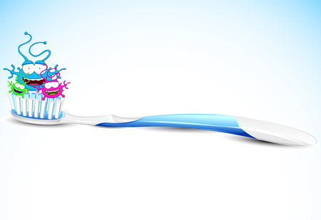 The bacteria on the tooth brush Vector