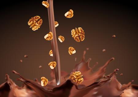 クルミのチョコレートに落ちる  イラスト・ベクター素材