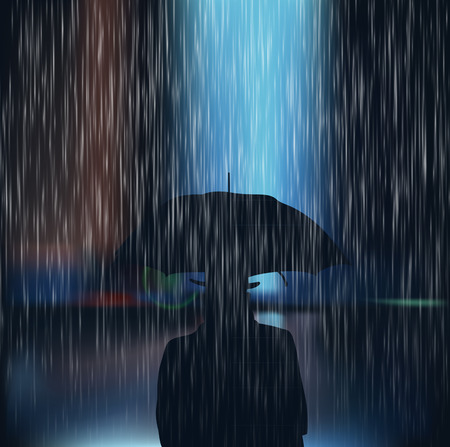 Man with umbrella. Heavy rains. City in the rain. Misty rain in the city. Vector