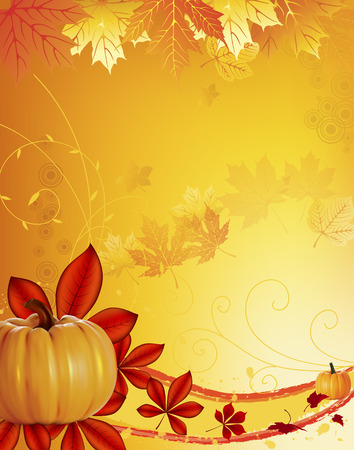 Congratulations on the season of autumn. Autumn background with a place for an inscription. Pumpkins and autumn leaves. Vector