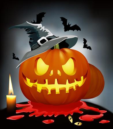 hollows: Pumpkin with face on Halloween. Pumpkin with blood. Zlovischyy pumpkin. Halloween holiday. Illustration