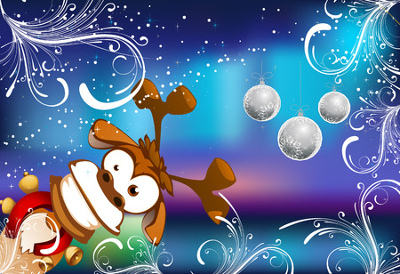 Christmas composition. Composition on the occasion of the new year. Christmas deer. Christmas toys. Vector