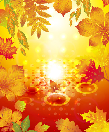 Background of autumn. Leaves fall. Abstract autumn background. Vector