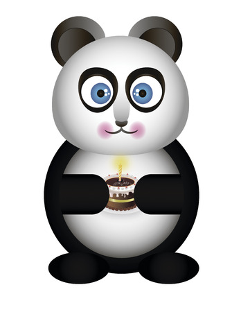 Panda with cake in hand Vector