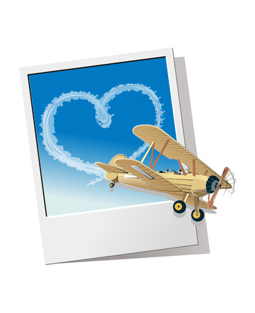 The plane pictured with trail of hearts. Ilustração
