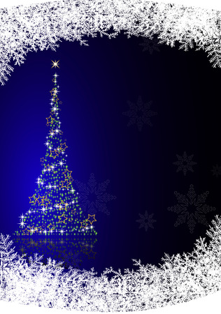 Christmas tree on blue background with reflection. Vector