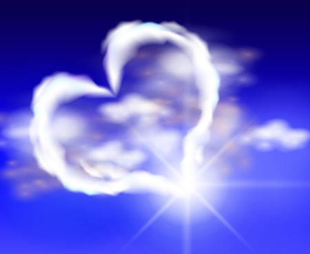 Heart hmarynok. Heart in the sky. Clouds in the sky in the form of heart. Vector