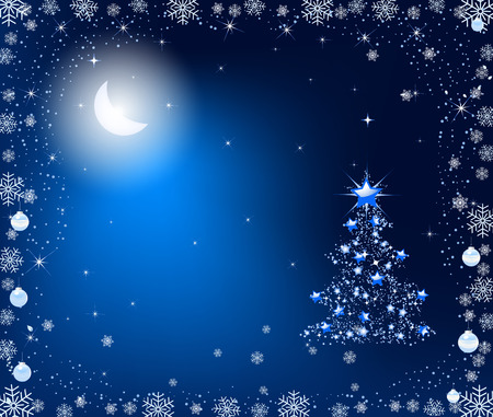 Abstract Christmas tree. Christmas tree for the new year. Christmas tree in the moonlight. Vector