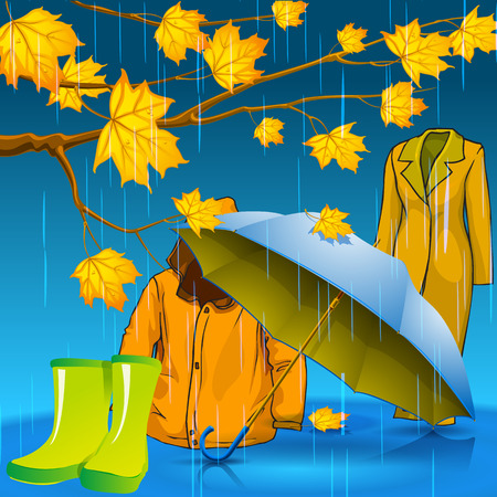 Be stylish this autumn. Autumn jacket. Autumn rubber boots. Autumn umbrella. Autumn leaves with drops of rain. Vector