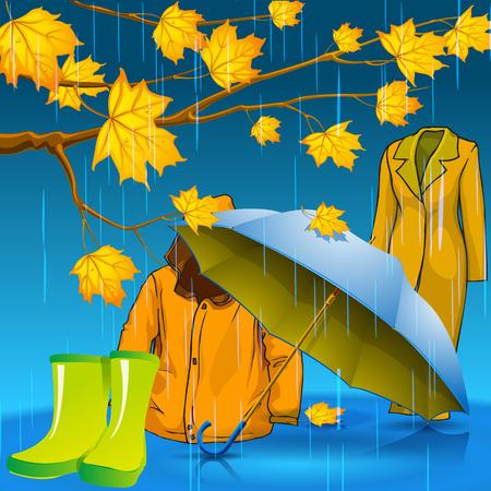 Be stylish this autumn. Autumn jacket. Autumn rubber boots. Autumn umbrella. Autumn leaves with drops of rain. Vector