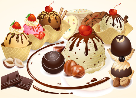 Confectionery and chocolate. Baking. Sweets. Cream cakes. Confectionery. Dessert dishes. Roast nuts. Banco de Imagens - 32776467