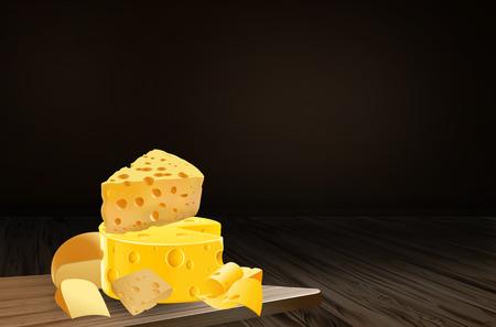 winetasting: Cheese. Processed cheese. Varieties of cheese. Variety of cheeses. Cheese on the table. Dyhustatsiya cheese. Illustration