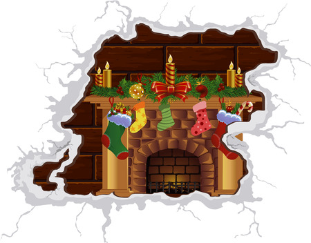 Heat Christmas fireplace. Heat the Christmas spirit. Cozy by the fireplace. Fire fireplace. Vector