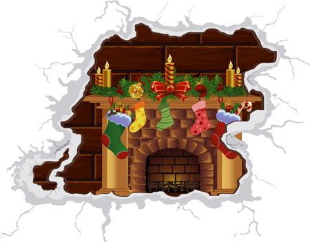 Heat Christmas fireplace. Heat the Christmas spirit. Cozy by the fireplace. Fire fireplace. Vector