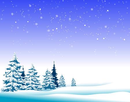 冬の風景です。冬のモミの木。雪の下のモミの木。冬の時間。  イラスト・ベクター素材