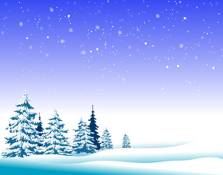 Winter landscape. Fir trees in winter. Fir trees under the snow. Winter time. Illustration