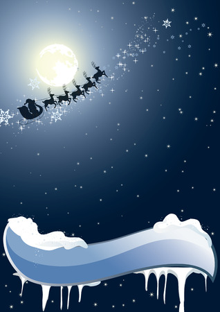 Santa Claus flying over trees. Santa Claus flies on a background of the moon. Santa Claus on the night of Christmas. Vector