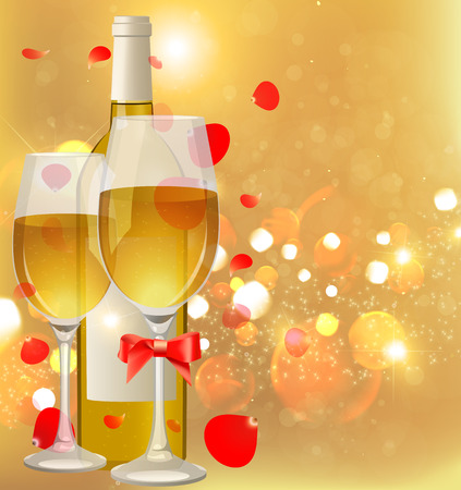 winetasting: Glasses and bottle of wine. A bottle of champagne and glasses. White Wine. Illustration