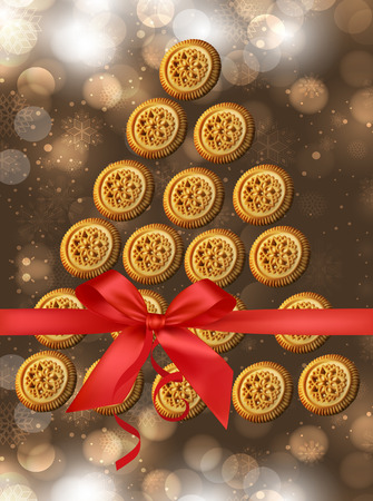 Christmas cookies. Cookies summarized in a tree. Cookies for the New Year. Vector
