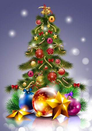 Christmas Tree. Christmas tree. Christmas tree with ornaments. Decorations on the Christmas tree. Vector