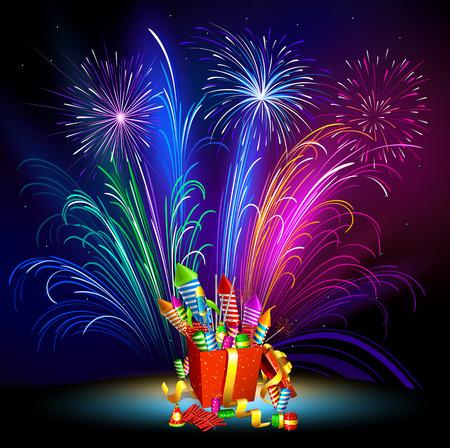 Fireworks. Pyrotechnics. New Years fireworks. Fireworks. Imagens - 33143047