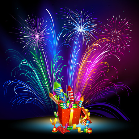 Fireworks. Pyrotechnics. New Years fireworks. Fireworks. Vector