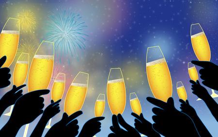 hosszú expozíció: Emeljük poharunkat az új évre. Ünnepelni az új évet pezsgővel. Ez a pezsgő az új év. Pezsgőt új évet.